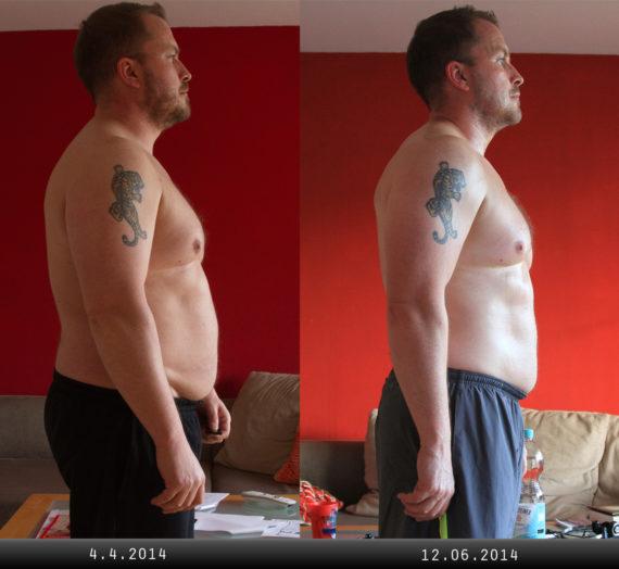 Zwischen den Fotos liegen 9 Wochen und 10kg